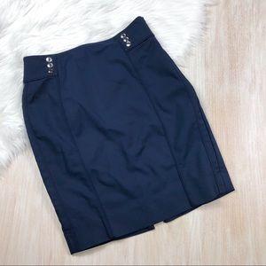 WHBM Blue Pencil Cotton Blend Skirt